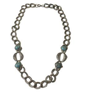 Vintage Silver Tone Turquoise Heavy Chain Necklace